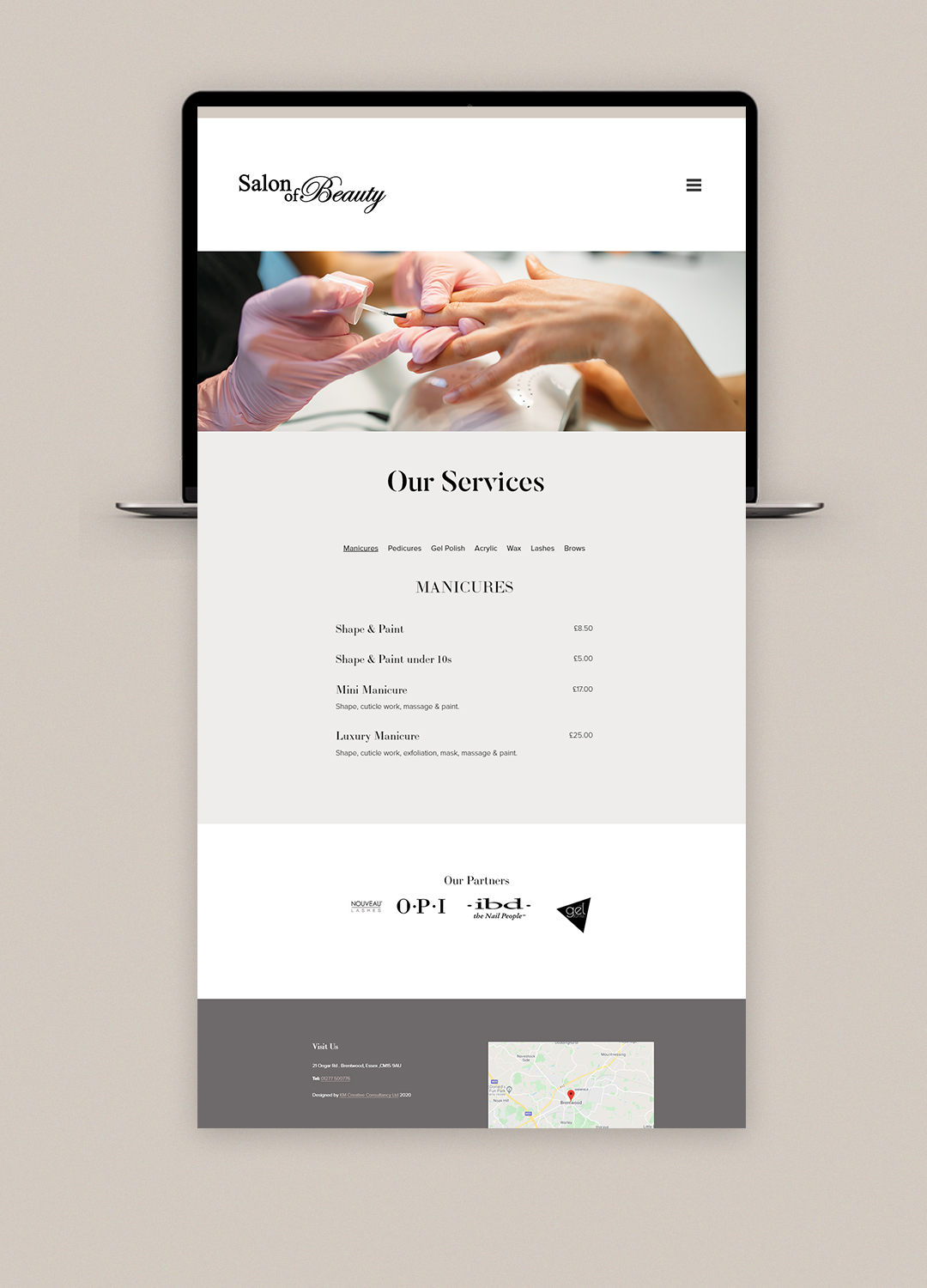Modern and clean beauty salon squarespace website design