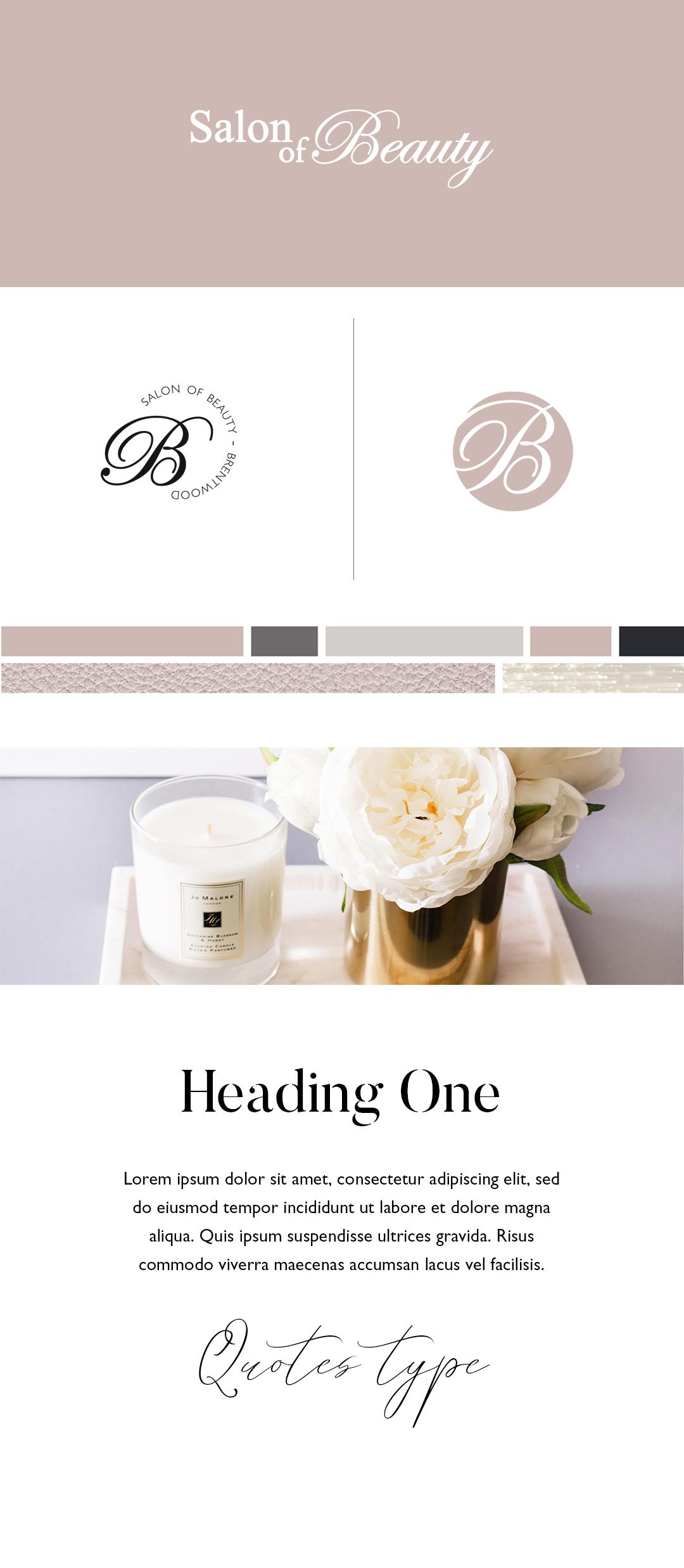 Pink and feminine beauty salon brand identity