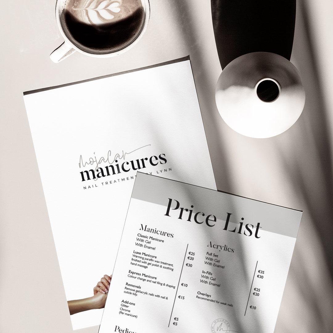 Modern and clean beauty salon price list design