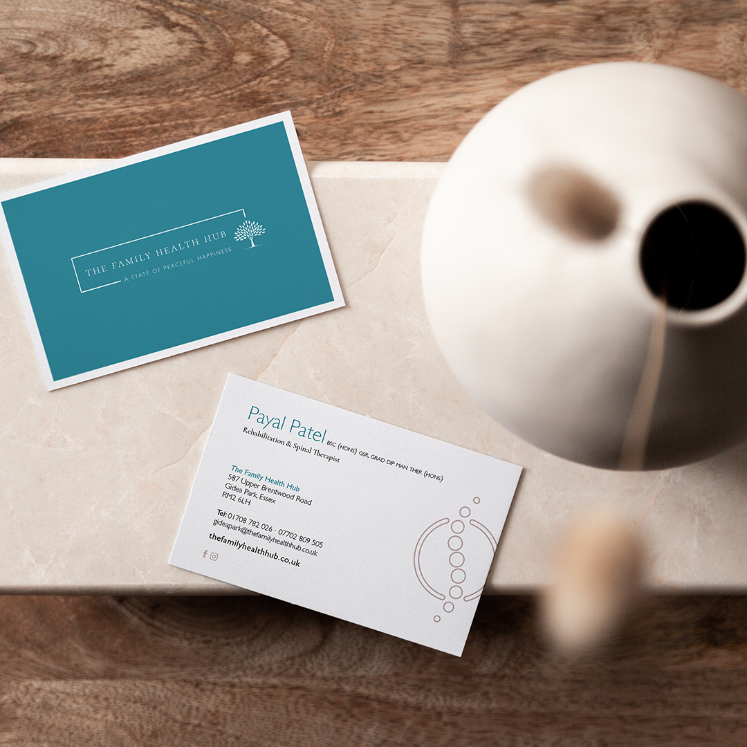 Modern and clean business card design for health clinic